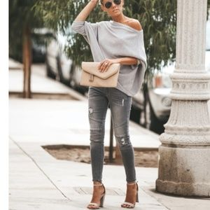 S. the Widow Jeans - ALMA Grey Distressed Moto Jeggings